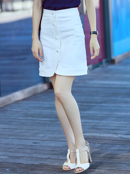 Plain Denim Buttoned Simple Mini Skirt