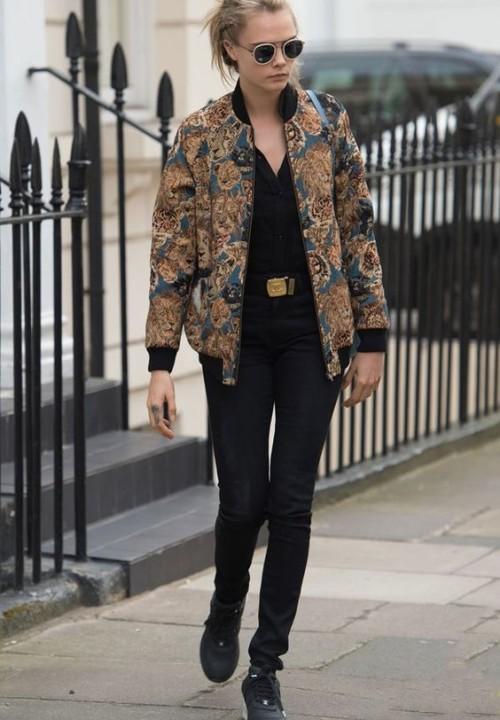 cara delevingne bomber jacket street style