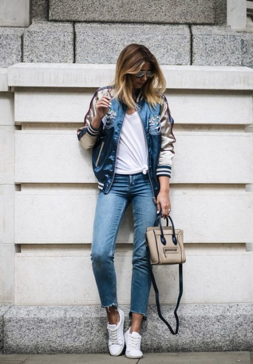 Never Go Wrong To Wear Bomber Jacket With Outfit ...