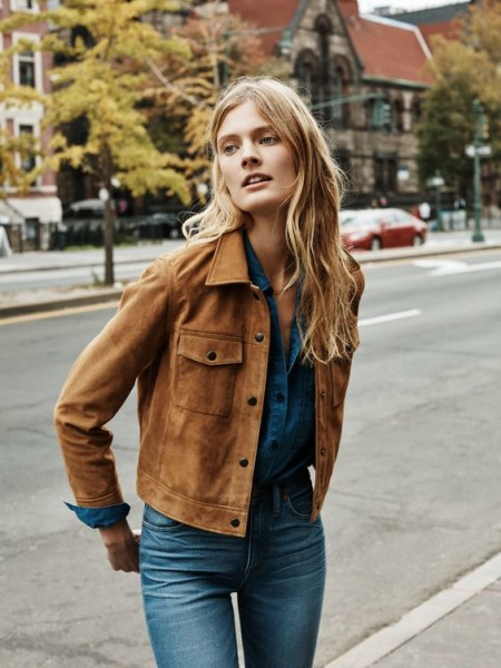 madewell suede wayfind jacket worn with the oversized shirt + flea market flares.