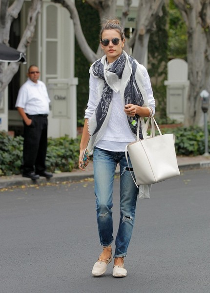Alessandra Ambrosio was spotted out in LA dressed down in ripped jeans and a white top.