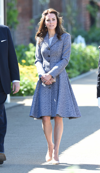 Kate Middleton donned a gray Michael Kors tweed coat for the opening of the Magic Garden at Hampton Court Palace.