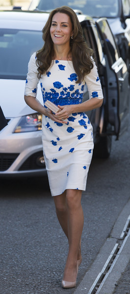 Kate Middleton kept it ladylike in a cornflower-print sheath dress by L.K.Bennett while visiting Luton.