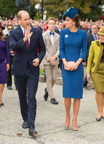 Kate Middleton looked very polished in a collared blue sheath dress by Jenny Packham while touring Canada.