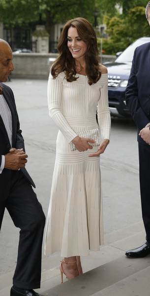 Kate Middleton was all about easy elegance in a ribbed white off-the-shoulder dress by Barbara Casasola while presenting the Art Fund Museum of the Year prize.