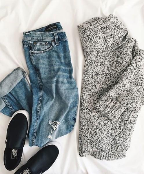 fresh chunky turtle neck, black slip on sneakers, joe fresh boyfriend jeans