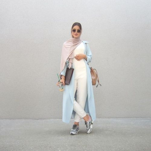 long blue pastel cardigan neutral hijab