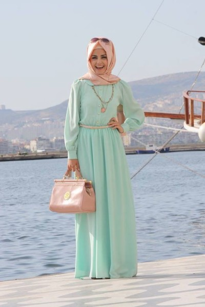 pastel color maxi dress modest mint green peach hijab