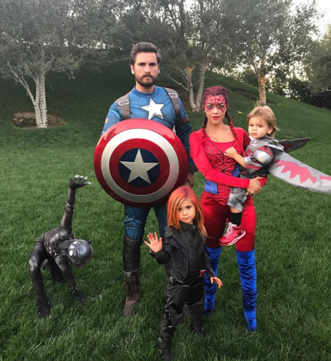 As The Avengers (including Captain America, Spiderman, Thor, and Black Widow). Scott Disick, Kourtney Kardashian, Mason Disick, Penelope Disick, and Reign Disick