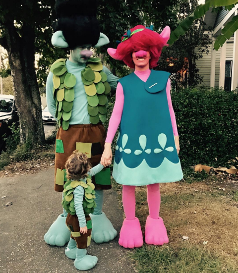 Justin Timberlake, Jessica Biel, and Silas As Trolls.