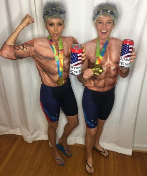 Nina Dobrev and Lane Cheek As Olympic swimmers Ryan Lochte and Jimmy Feigen.