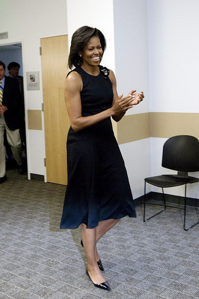 Michelle Obama wore a simple yet classic little black dress to the UC Merced Commencement Ceremony.