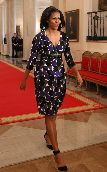 Michelle chose a bold print dress with an empire belt for her discussion at the White House.