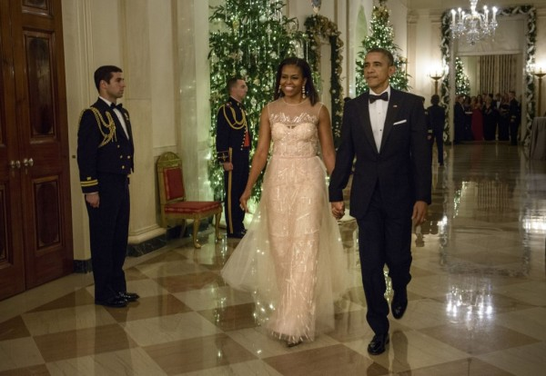 Most Adorable Michelle Obama Fashion Style You're Gonna Love Wearing a Monique Lhuillier gown to the 37th annual Kennedy Center Honors.