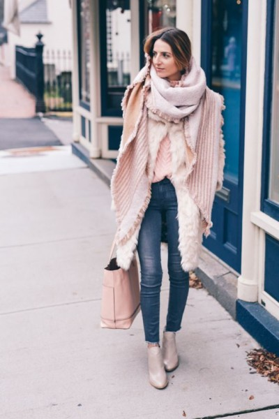 Winter layering in Pantone Color of the Year Rose Quartz Prosecco & Plaid