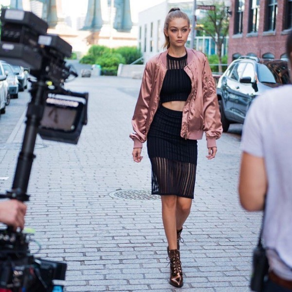 behind-the-scenes at Stuart Weitzman x Gigi boot shoot earlier this year