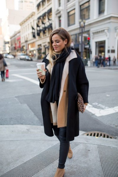 coat over coat, camel and black