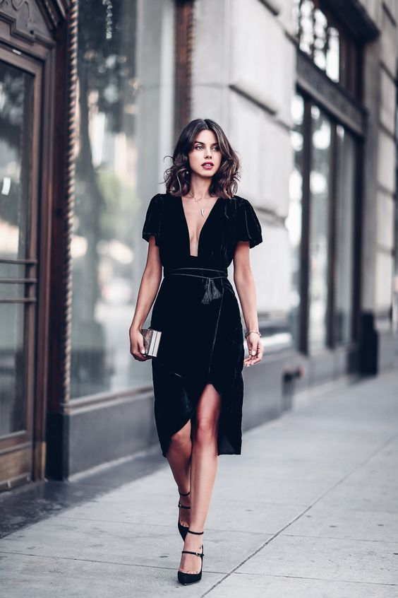 Stylish Ways To Wear Velvet Dresses Outfit In Holiday Party via vivaluxury.blogspot.com