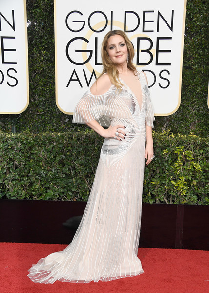 Drew Barrymore in Monique Lhuillier