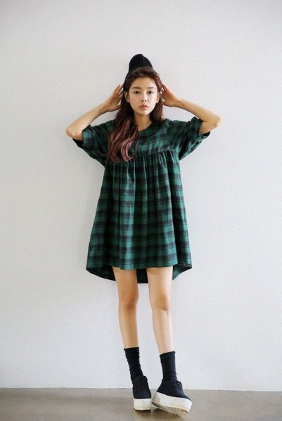 Lantern Sleeve Plaid Dress