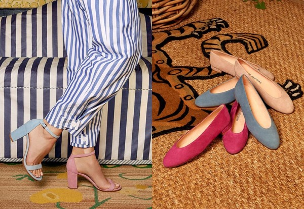 (Left) Stuart Weitzman NearlyNude Block Heel Sandals (Right) Stuart Weitzman Chicflat Ballet Flats