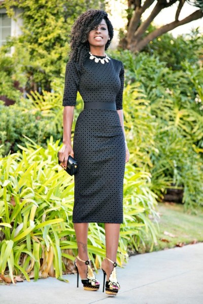 via Black Diamond Print Midi Dress (Style Pantry)
