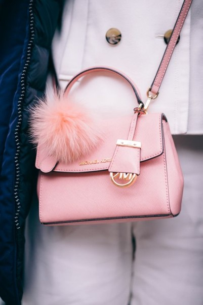 Michael Kors mini pink cross bag with fluffy pom pom