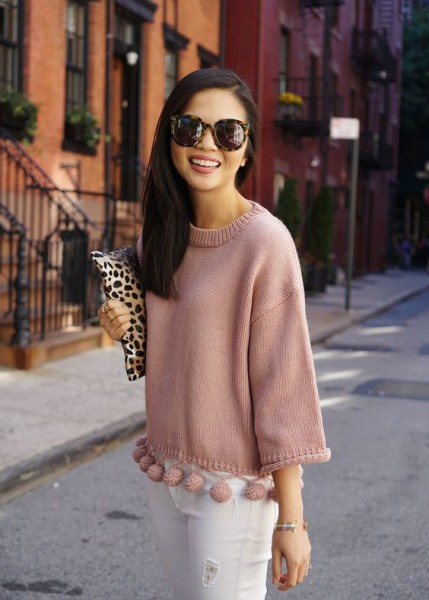 Pink Pom Pom Sweater & White Jeans