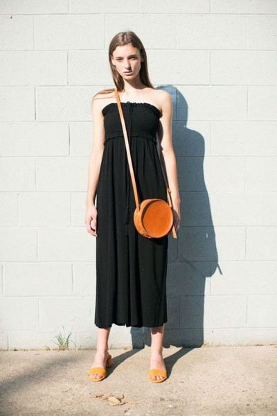 Tan Circle Bag & Apiece Apart Black Ute Lake Jumpsuit