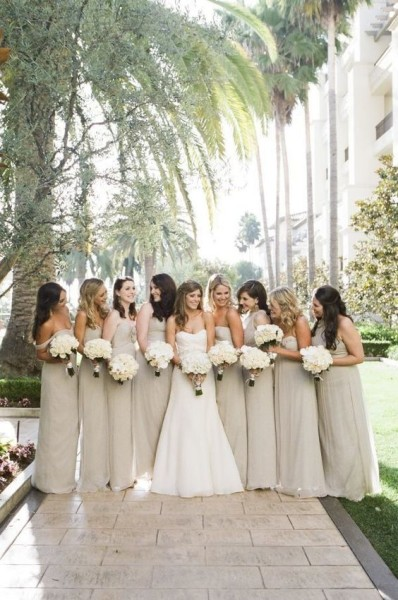 Taupe bridesmaid's dresses with simple ivory bouquets