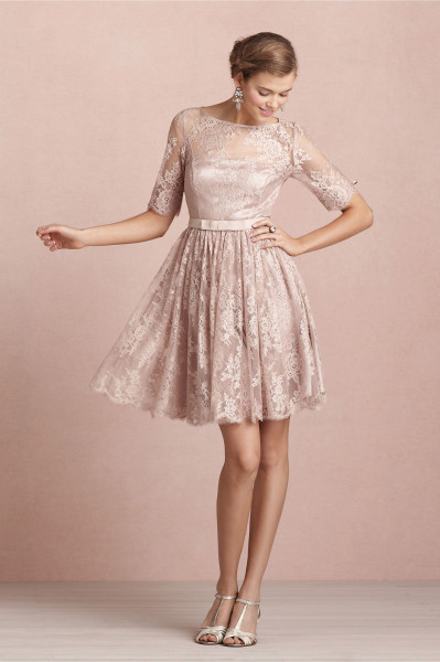 (Shop Cleck here) Bateau Neck Long Sleeved Lace Pattern Bridesmaid Dress with Bow Ribbon