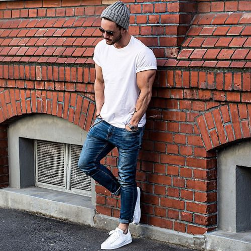 Beanie + White Tee + Denim + White Adidas Sneakers