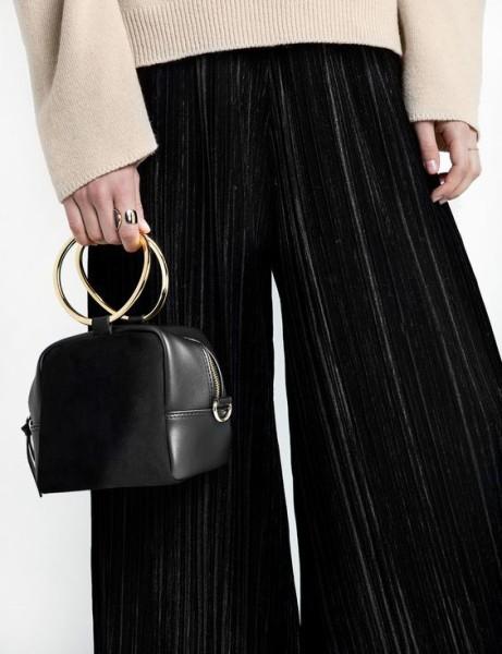 Black Boxy Ring Bag by Pixie Market