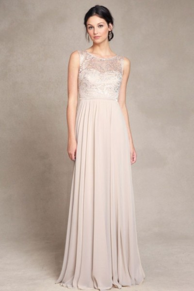 (Shop Click here) Gorgeous Sleeveless Bateau Neck Lace Bodice Long Chiffon Bridesmaid Dress