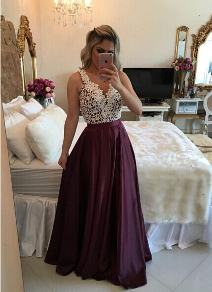(Shop click here) Natural A-line V-neck Lace Beading Floor Length Long prom dresses