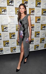 Zendaya Coleman attended the Marvel Studios panel during Comic-Con wearing a floral-embroidered gray dress by Kenzo.
