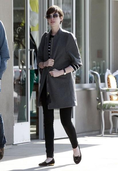 Anne Hathaway Wool Coat