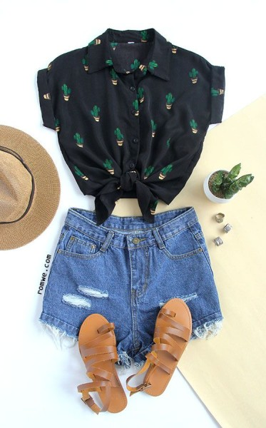 Black Buttons Front Cactus Print Chiffon Blouse with denim shorts and khaki sandals - rowme.com