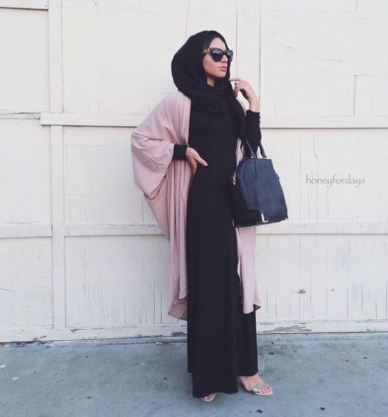 Hijab + Pink Maxi Cardigan via honeyfordays