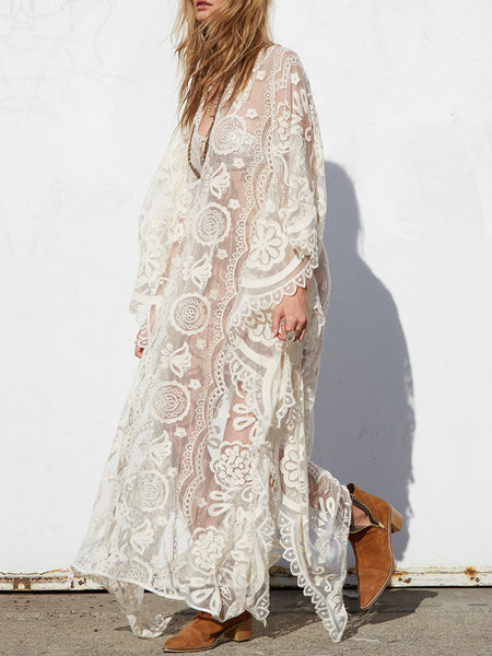 Hypnotise White V Neck Lace Batwing Maxi Dress