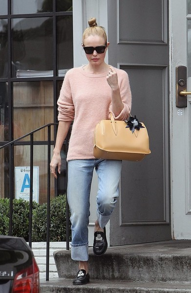 Kate Bosworth's yellow leather bowler bag made a nice contrast to her pink sweater.