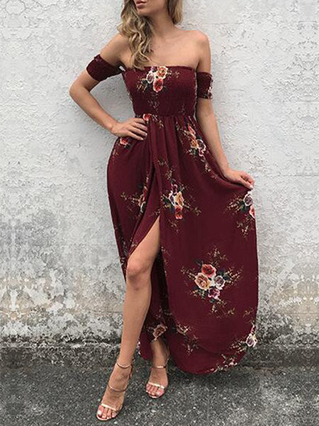 Run To You Burgundy Slit Shirred Off Shoulder Dress