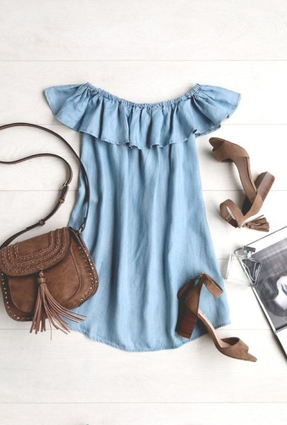 ruffle denim off the shoulder dress