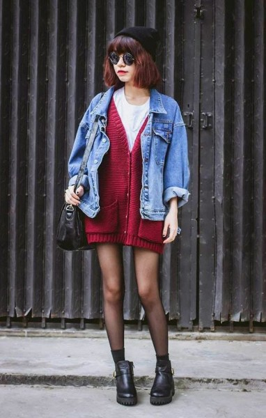 Beanie Hat, Sunglasses, Cardigan, Denim jacket, Tights & Boots