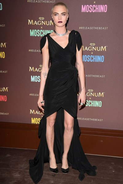 Cara Delevingne looked ace in a black Moschino dress for the Magnum x Moschino bash in Cannes