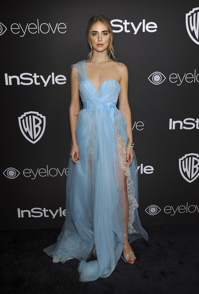 Chiara Ferragni captivated in a gauzy blue one-shoulder gown at the InStyle and Warner Bros. Golden Globes post-party.
