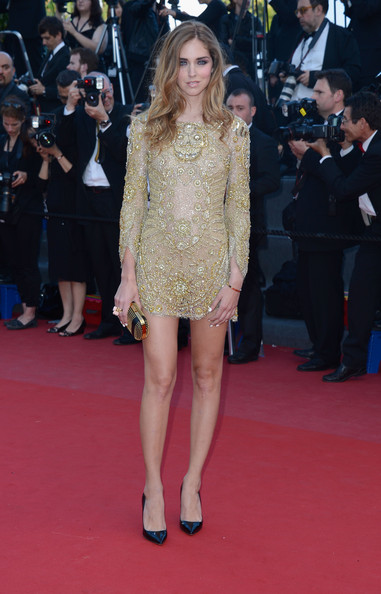 Chiara Ferragni's gold beaded gown looked totally glamorous on the red carpet of 'Behind the Candelabra.'