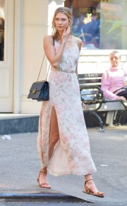 Karlie Kloss is breathtaking as always in a breezy Reformation maxi dress.