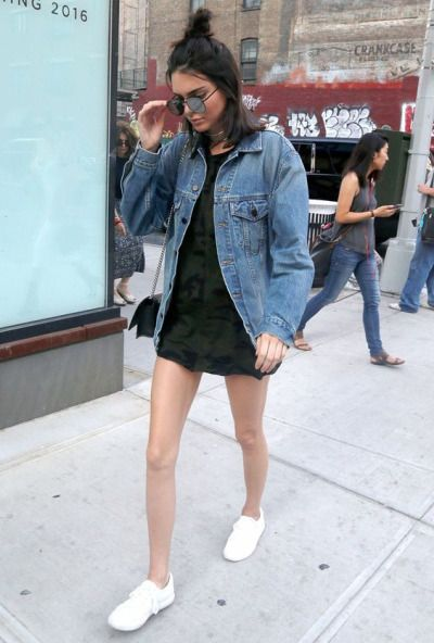 Kendall Jenner in Oversized Denim Jacket