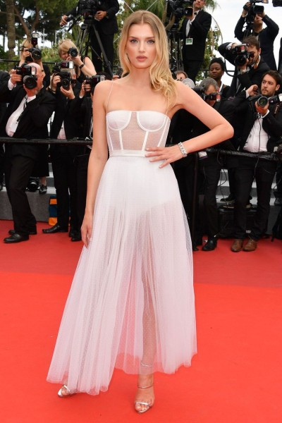 Lily Donaldson looked pretty in a sheer tulle Dior gown and Giuseppe Zanotti metallic sandals.